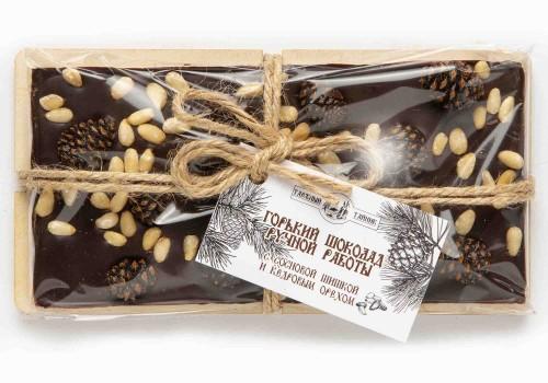 Шоколад горький с сосновой шишкой и кедровым орехом 100г